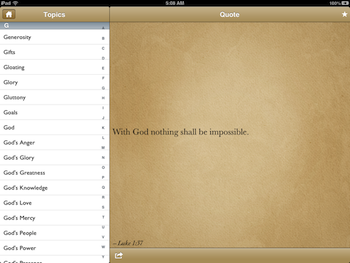 iPad Topics/Quote Screen
